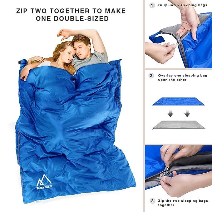 Terra Hiker Saco de Dormir Ultra-Compacto y Ligero para Viajes, Camping, Senderismo, Escalada, 890g