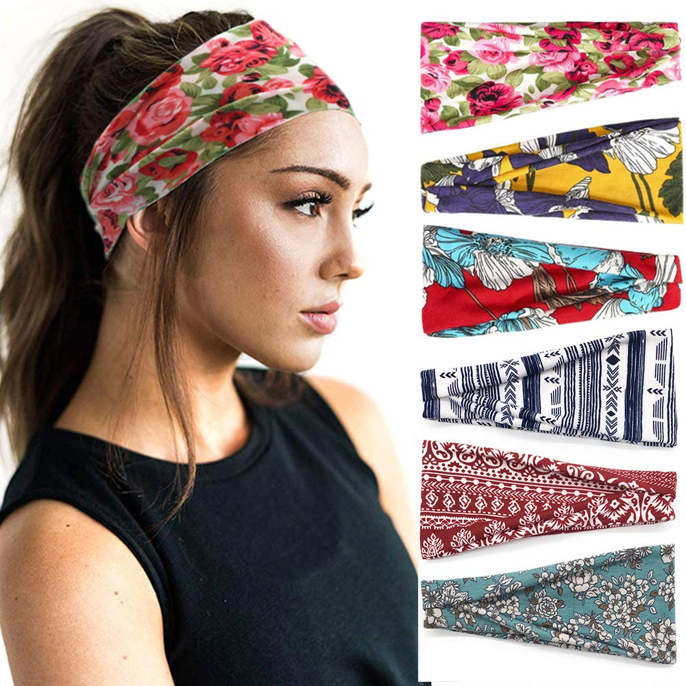 Huachi Headbands for Women Yoga Running Boho Bandeau Hair Bands for Workout Sports - Wide Turban Head Wrap Thick Fashion Hair Accessories, 6 Pack