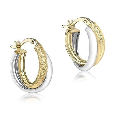 Carissima Gold Women's 9 ct Yellow Gold Diamond Cut Creole Earrings GCWoDL