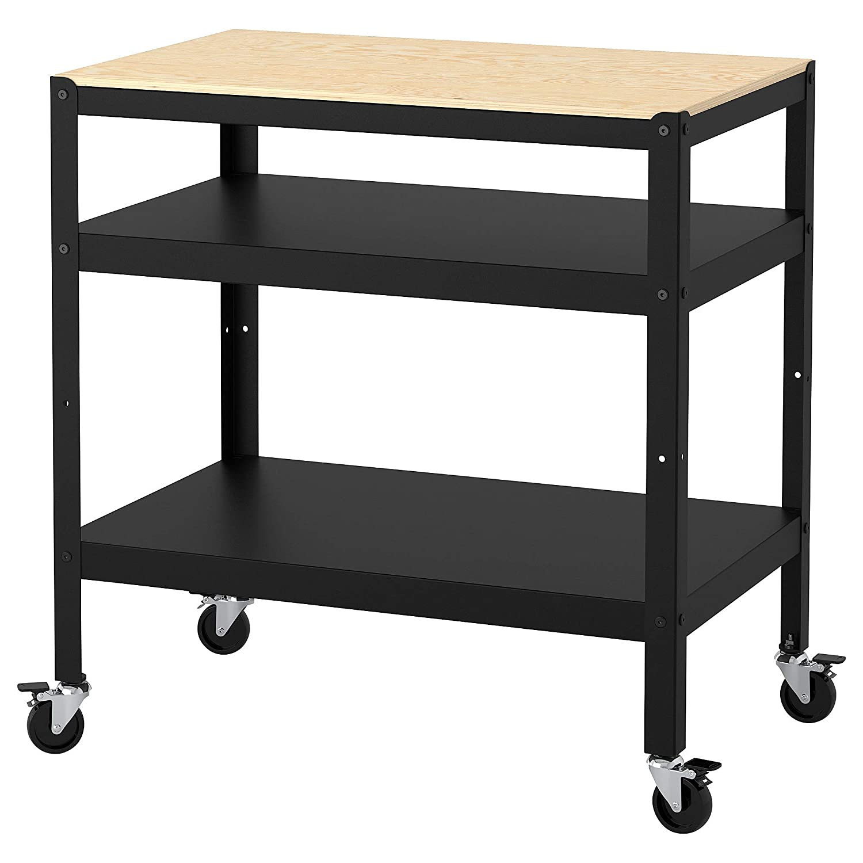 IKEA Bror Utility Cart, Black, Pine Plywood