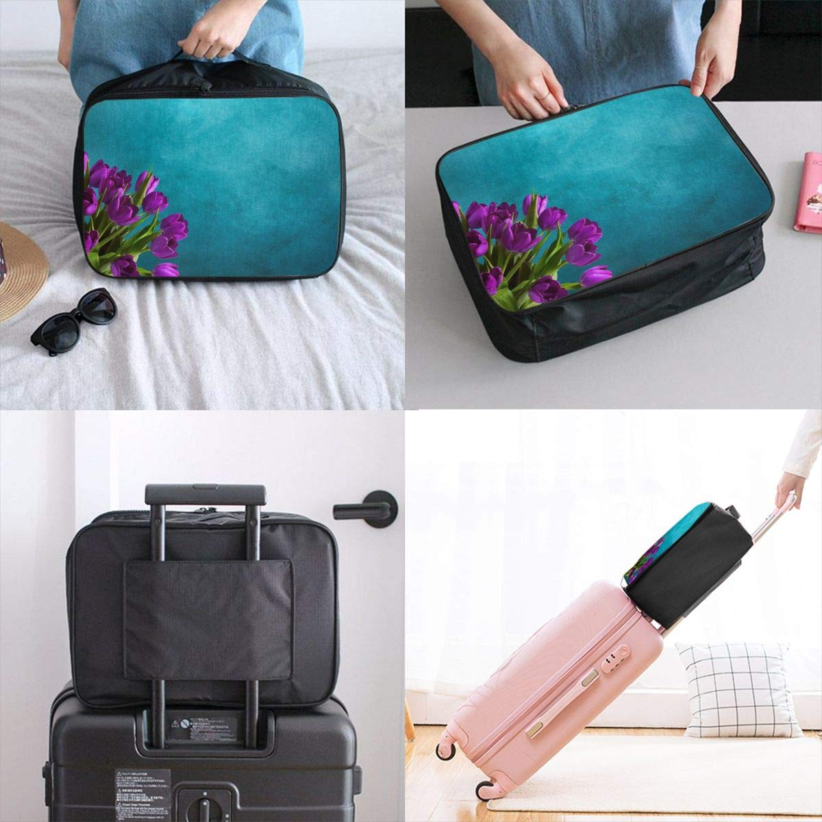 Tulip Flower Purple Retro Decoration Travel Lightweight Waterproof Foldable Storage Carry Luggage Large Capacity Portable Luggage Bag Duffel Bag