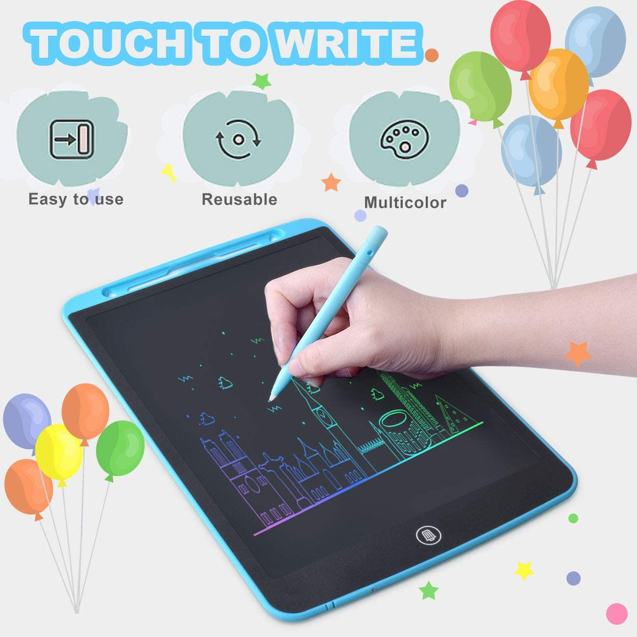 Blue LCD Writing Tablet 10 Inch,Colorful Drawing Board Doodle Board Electronic Drawing Tablet with Lock Function for Kids 3+,Home School Office