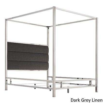 Image Unavailable  sc 1 st  Amazon.com & Amazon.com: Inspire Q Solivita Chrome Metal Canopy Bed with ...