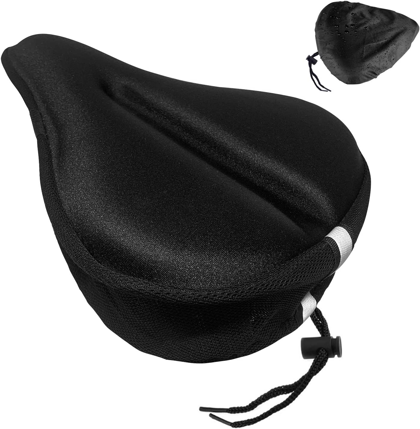 ZEJUN Gel Bike Seat Cover Indoor Cycling Bike Seat Covers Fits Cruiser Mountain Road Stationary Bikes Extra Soft Silicone Bicycle Saddle Pad Comfort Wide Bike Seat Cushion Cover for Women Men