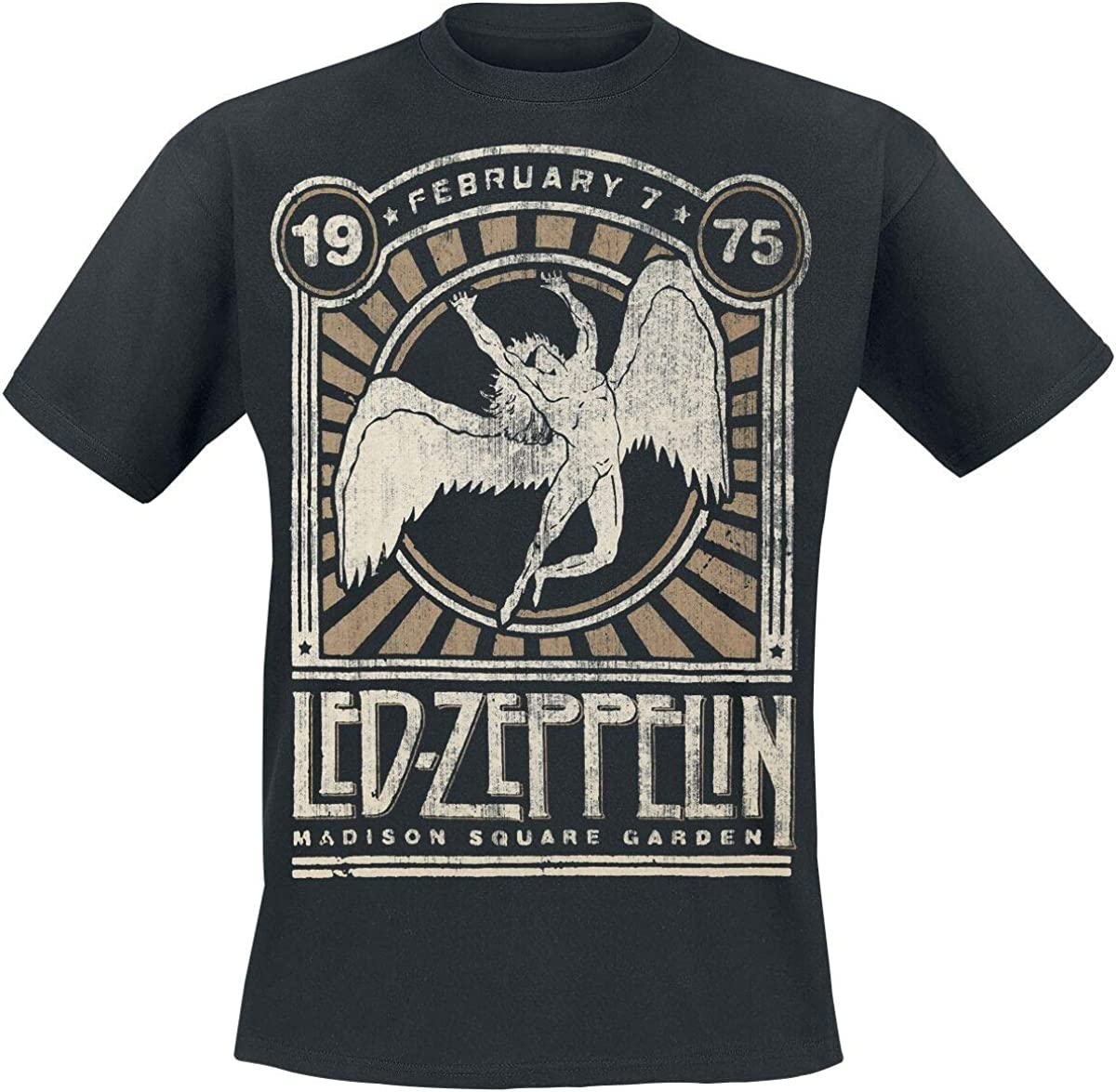 Led Zeppelin Madison Square Garden 1975 Hombre Camiseta Negro 3XL, 100% algodón, Regular: Amazon.es: Ropa y accesorios