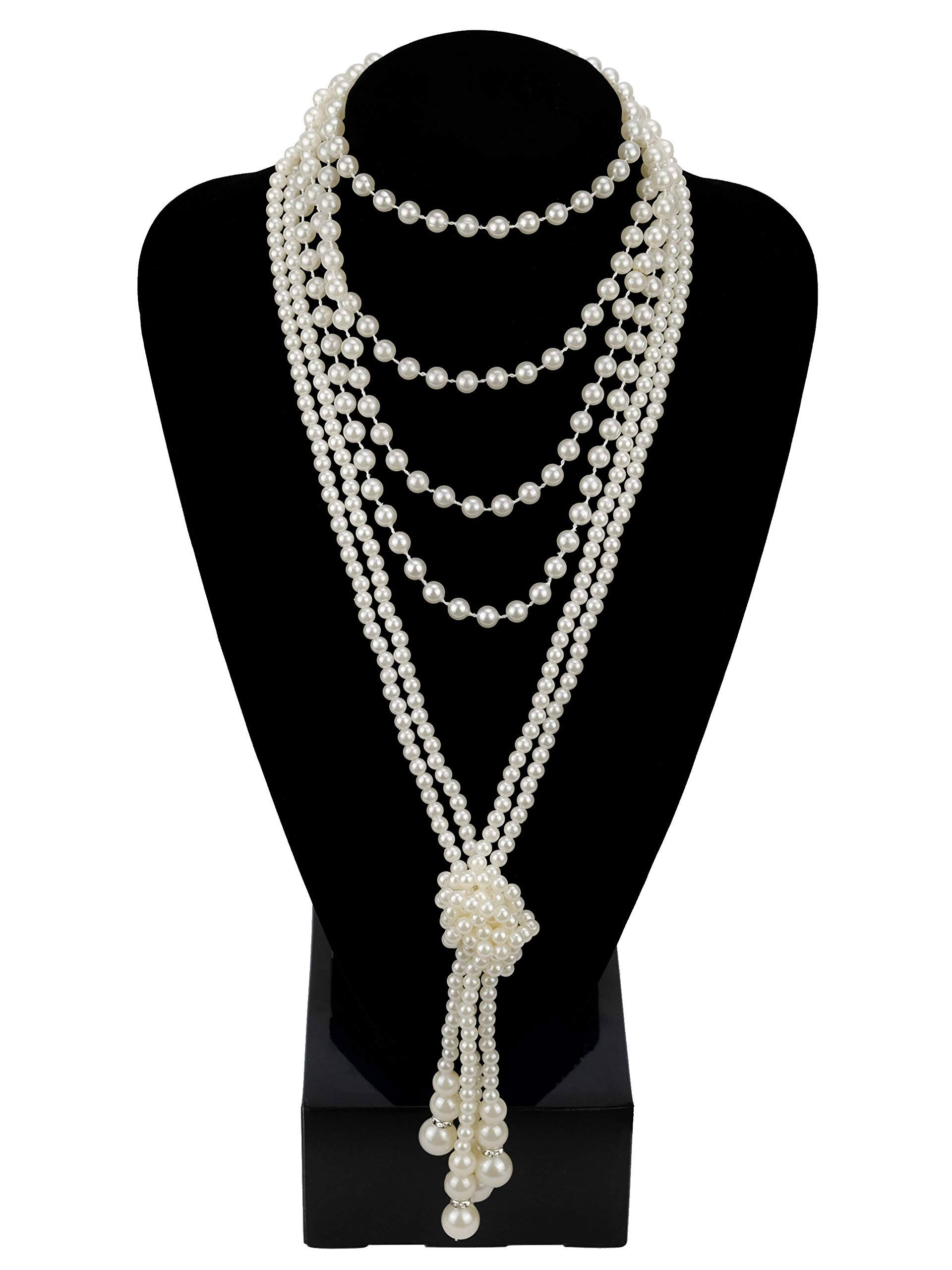 Zivyes Fashion Faux Pearls 1920s Pearls Necklace Gatsby Accessories 59'' and 45'' Knot Long Necklace for Women