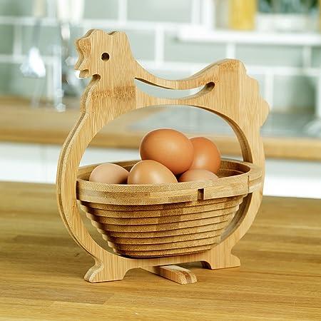 Cesta para huevos plegable en forma de gallina de bambú: Amazon.es ...