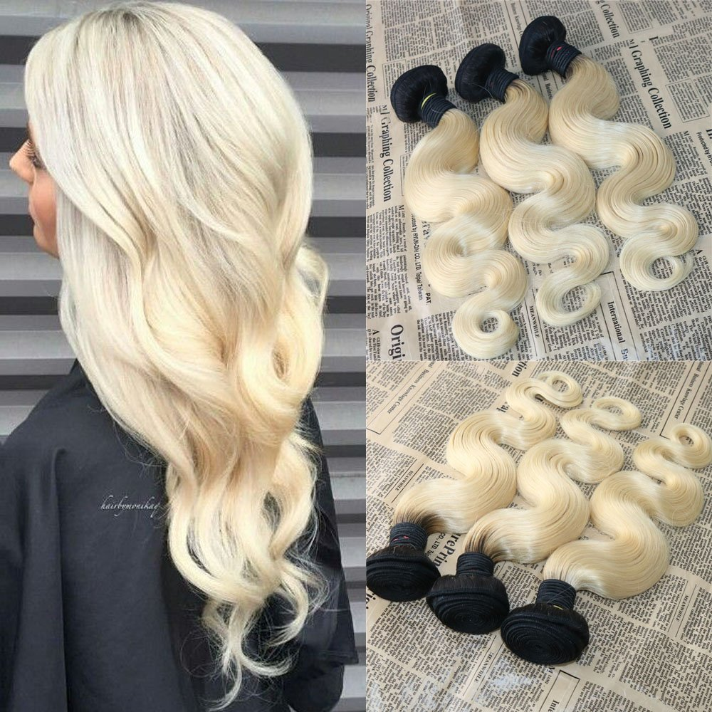 28'' 2 Tone 1B#613# Ombre Hair Extensions Human Hair Weave Body Wave Brazilian Unprocessed Hair Bundles Wavy Remy Virgin Human Hair Weft Extensions