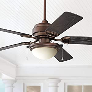 "52"" Marina Breeze Outdoor Ceiling Fan with Light LED Oil Brushed Bronze Wet Rated for Patio Porch - Casa Vieja"