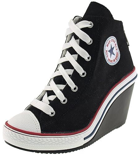 23ec39bc42ac Maxstar Women s 775 Back Zipper Canvas Wedge Heel Sneakers Black 5.5 B(M) US