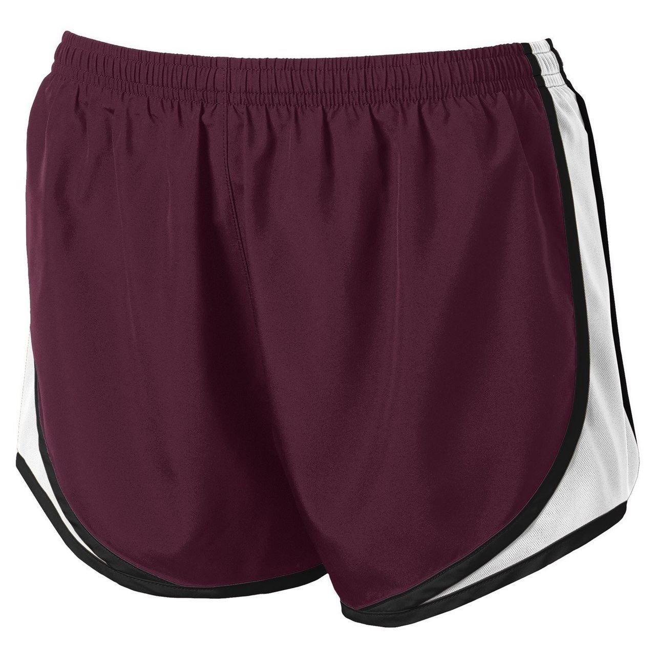 Clothe Co. Ladies Moisture Wicking Sport Running Shorts, Maroon/White/Black, XS