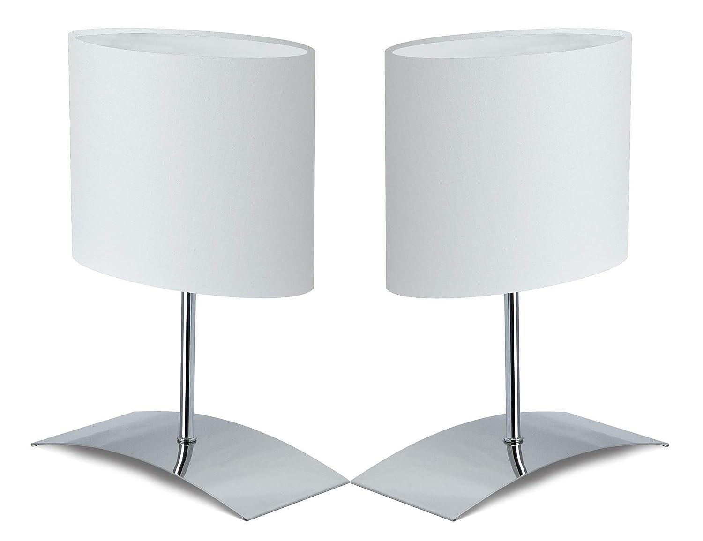Trango 2er Pack Tischleuchte Nachttischlampe Schreibtischleuchte Lampe 2TG2017-08GGrey mit Stoffschirm in grau Ø 170 mm, Höhe: 350 mm Höhe: 350 mm
