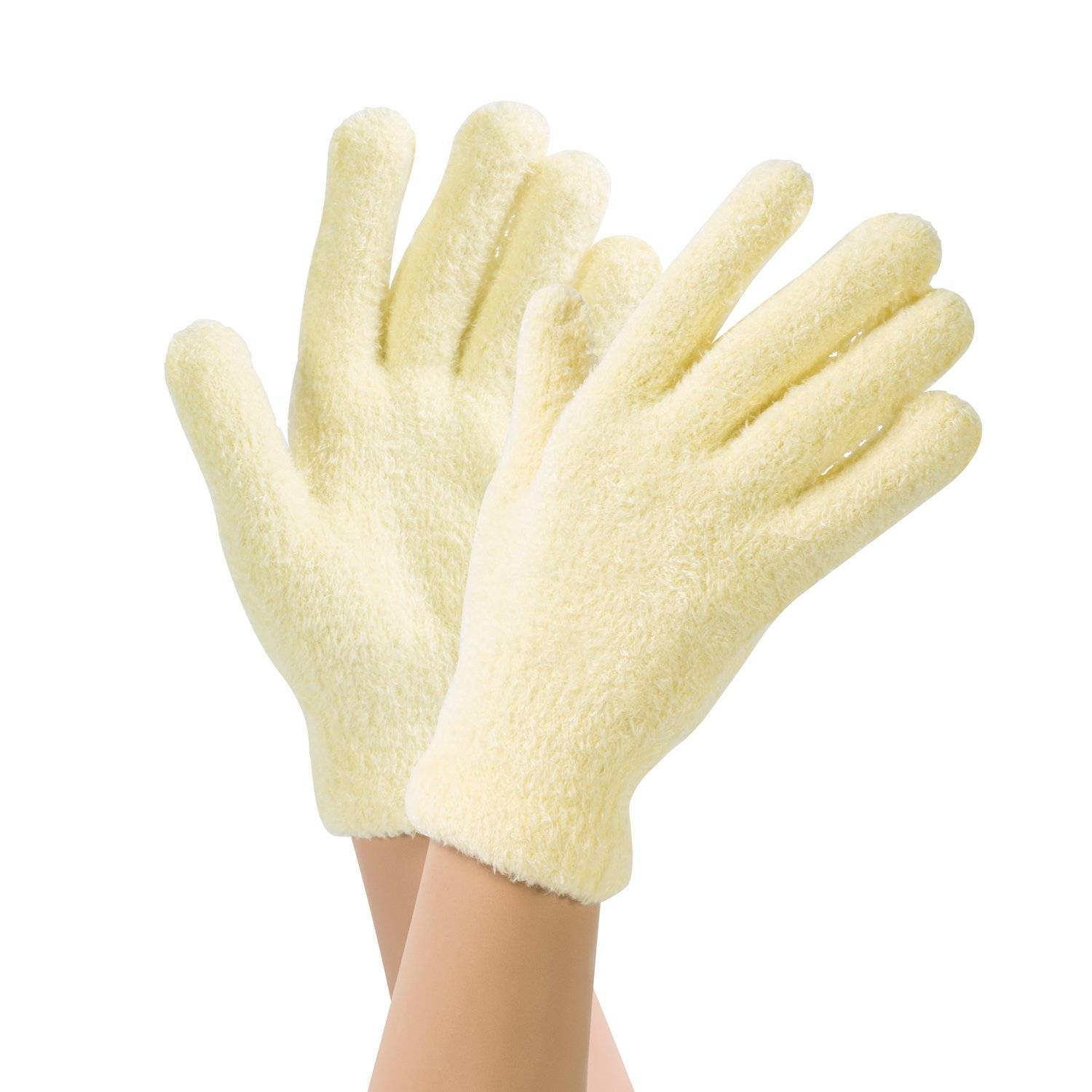 Bucky Luxuriously Plush Aloe-Infused Moisturizing Spa Gloves To Protect Manicures, Soften Skin, & Provide Comfort While You Sleep - Pale Yellow G100PYE