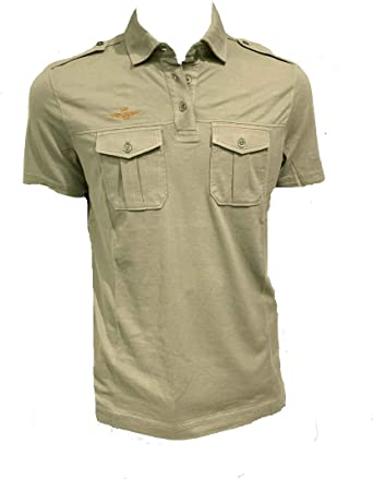 Aeronáutica Militar Polo PO1454J Verde Militar Jersey, Hombre Camisa: Amazon.es: Ropa y accesorios