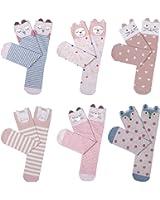 Haley Clothes Cute Girls No Heel Design Pink Elements Fox Cat Rabbit Knee High Socks (6 Pairs)