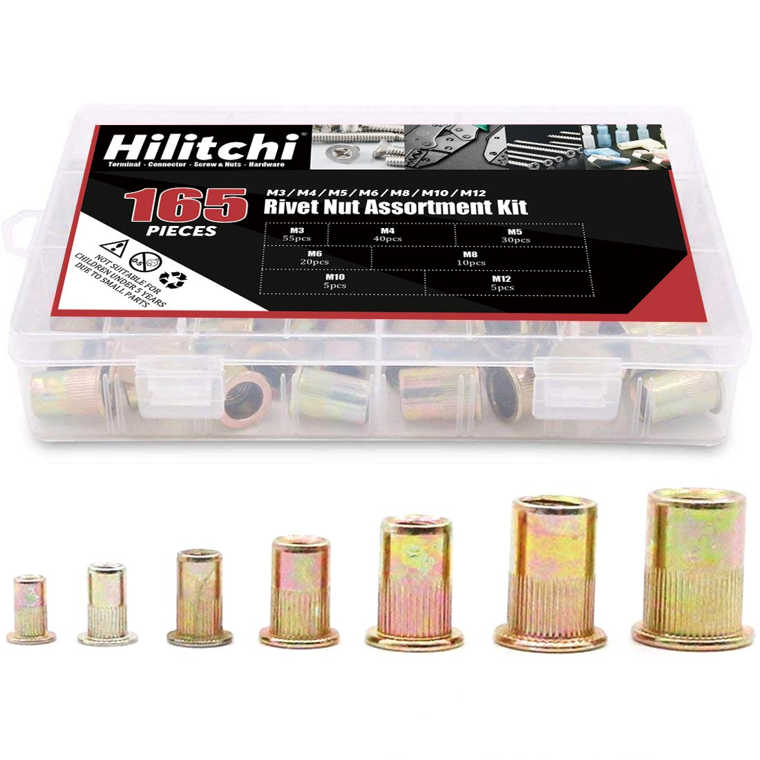 Hilitchi 150pcs Mixed Zinc Plated Carbon Steel Rivet Nut Threaded Insert Nutsert M4  5  6  8  10