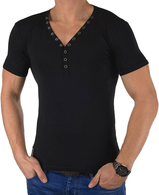 CARISMA Herren T-Shirt Y-NECK Knopfleiste Elasthan Oberteil Slim Fit:  Amazon.de: Bekleidung
