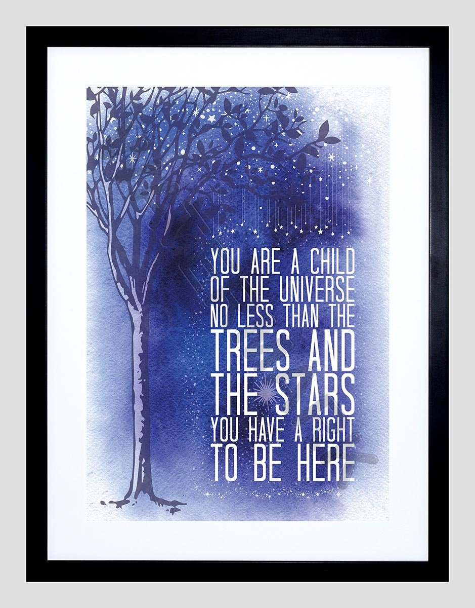 Wee Blue Coo Quote Desiderata Stars Child Universe Motivation Framed Art Print F97X12906