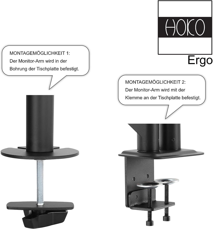 Bildschirme 2 Montageoptionen VESA 75x75-100x100 mm SGSP Monitor Halterung Einarm 43-68,5 cm Ergonomische Gasgest/ützte Arm f/ür 17-27