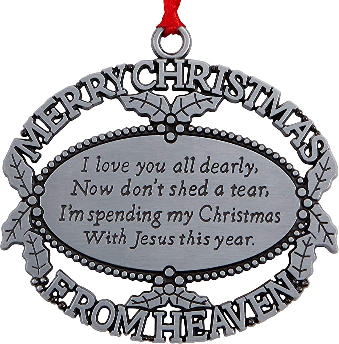 Amazon Com Merry Christmas From Heaven Pewter Finish Keepsake Memorial Ornament With Poem In Gift Box Home Kitchen