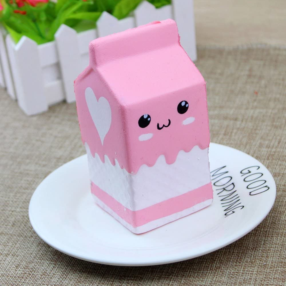 Ounabing 1PC Milk Box Squishies Slow Rising Scented Kawaii Food Squishies Charms Stress Relief Kids Toys Decorative Props, Pink