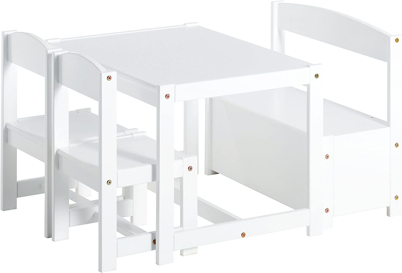 Hoppekids Mathilde Ensemble de Table//chaises et Banc pour Enfant Blanc Bois