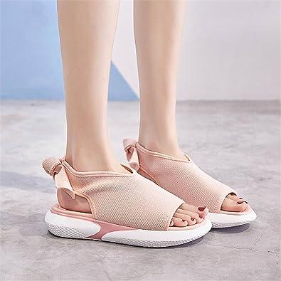 reputable site 41d55 870e2 MeiMei Sandales Sport Féminin Une Base Plate Et De Loisirs Polyvalent  Chaussures Gâteau Pin Épais