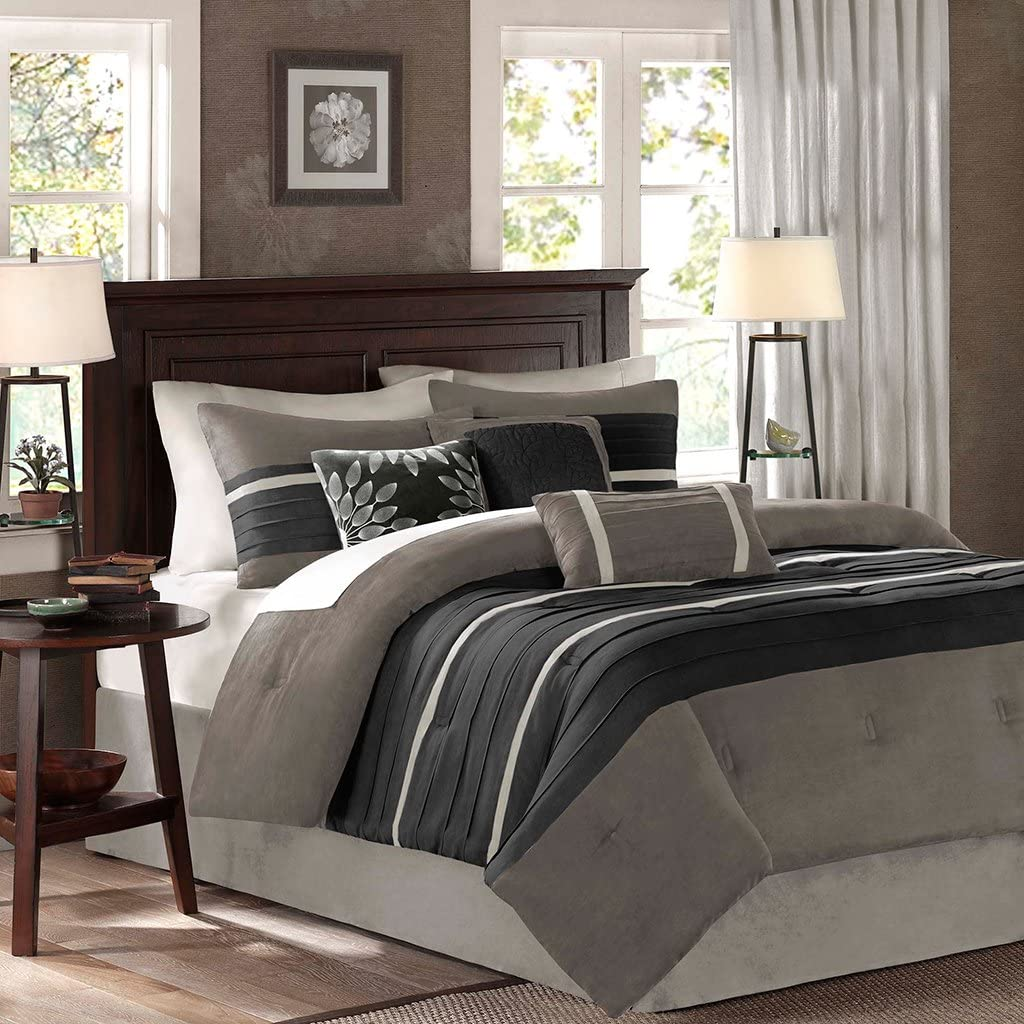 Madison Park - Palmer 7 Piece Comforter Set - Black and Gray - King - Pieced Microsuede - Includes 1 Comforter, 3 Decorative Pillows, 1 Bed Skirt, 2 Shams