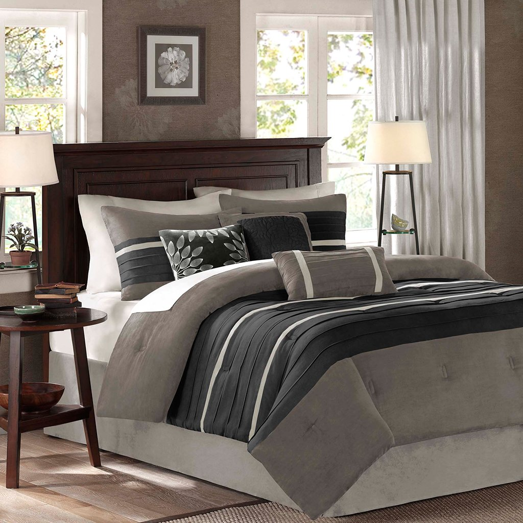 Madison Park - Palmer 7 Piece Comforter Set - Black and Gray - Queen - Pieced Microsuede - Includes 1 Comforter, 3 Decorative Pillows, 1 Bed Skirt, 2 Shams
