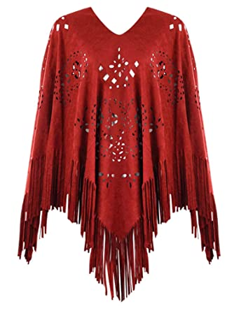 455043b96 Burgundy Faux Suede Poncho With Fringe at Amazon Women's Clothing store: