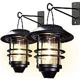 Otdair Solar Wall Lantern Outdoor, 2 Pcs Glass Solar Hanging Lantern Light Waterproof Solar Wall Sconce Light Fixture…