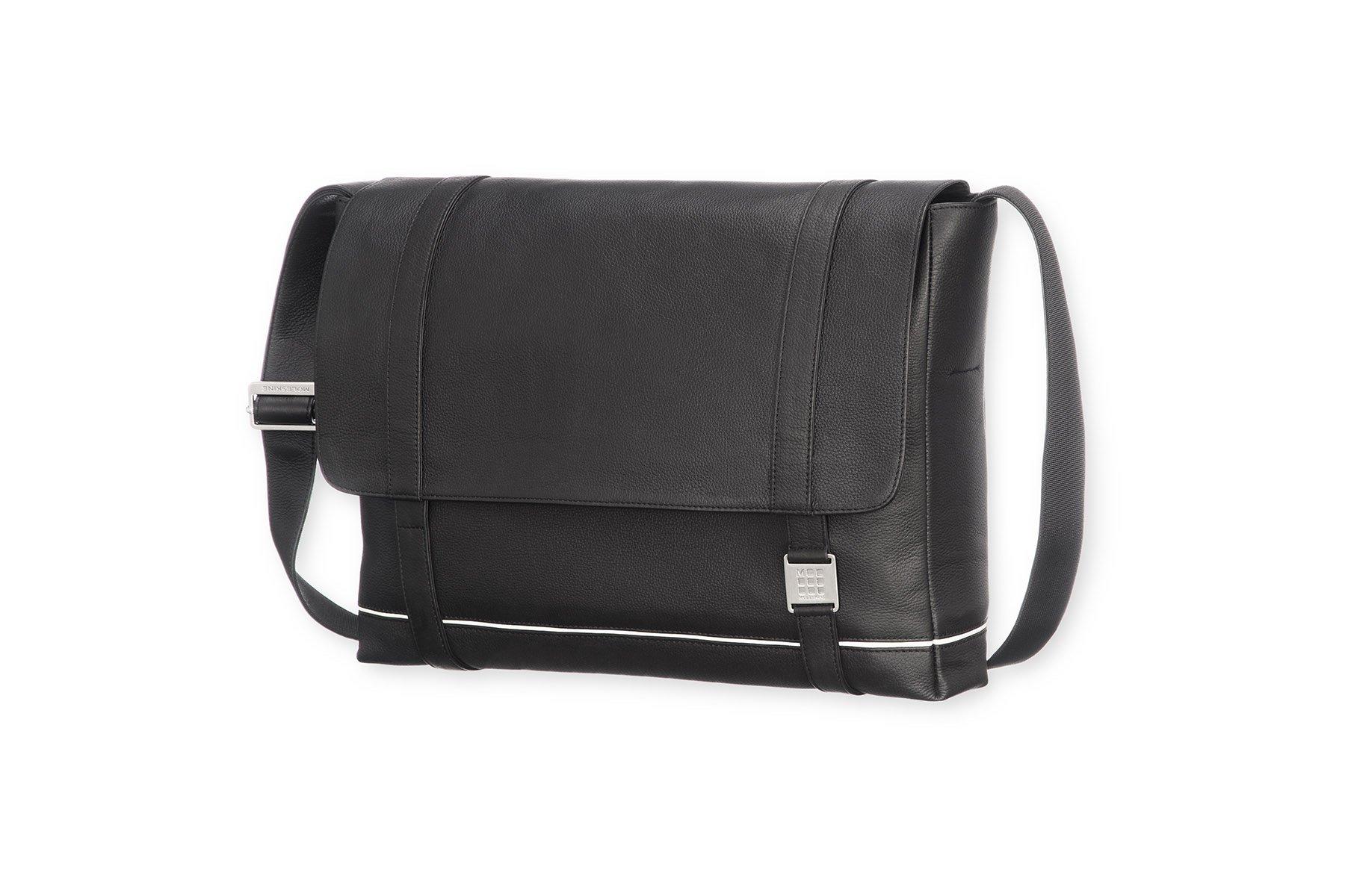 Moleskine Lineage Messenger Bag, Leather, Black