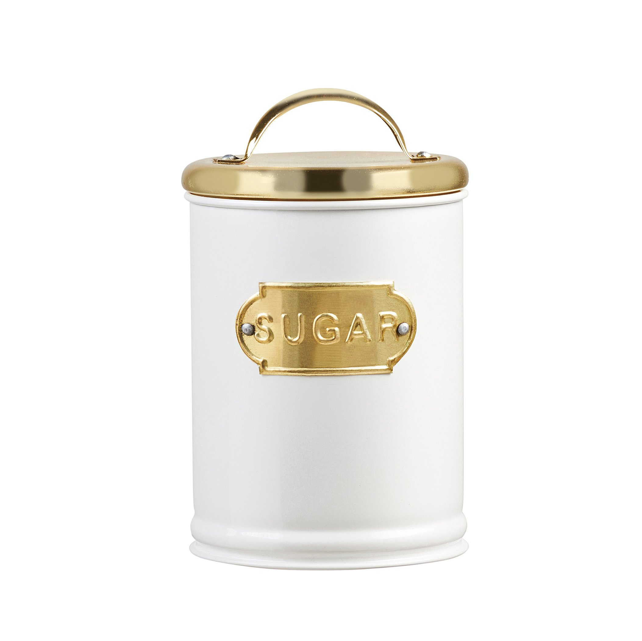 Amici Home, A5IP003R, Madison Collection Sugar Metal Storage Canister, Relief Label, Push Top Lid, Food Safe, Medium, 32 Ounces