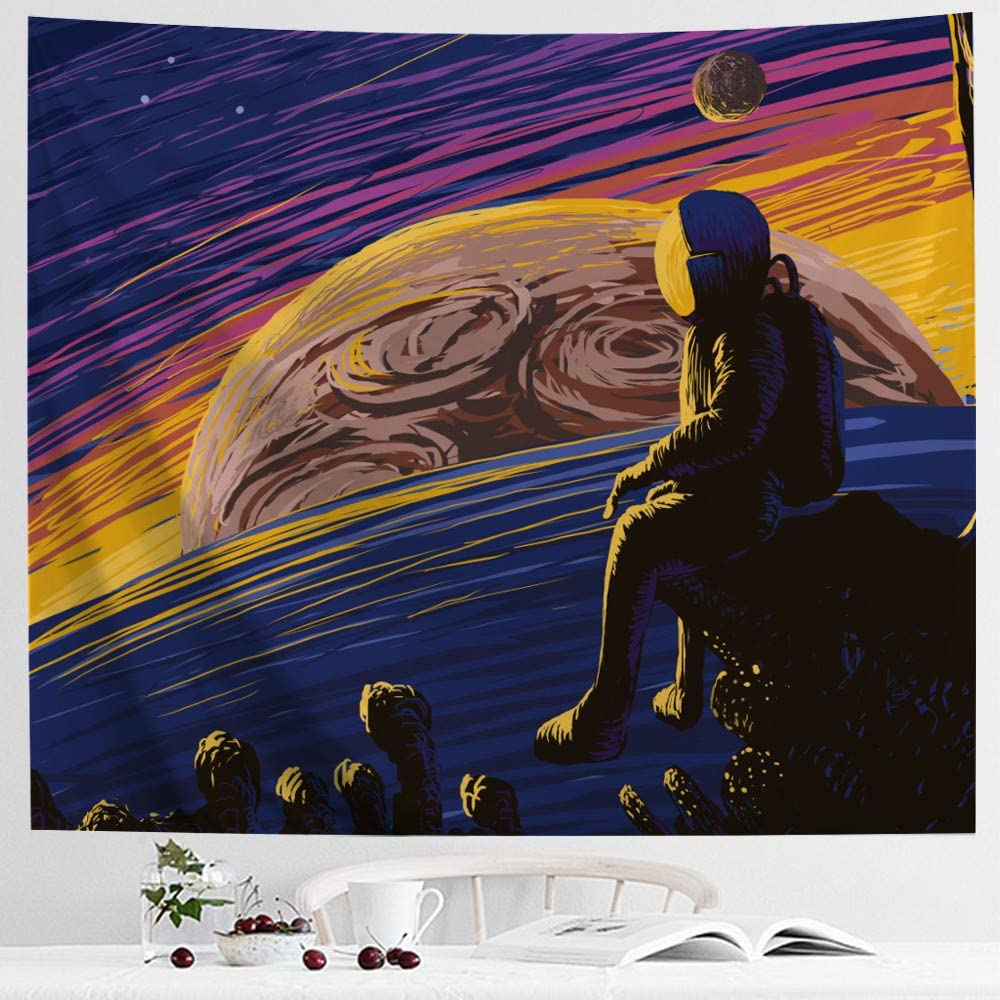 IcosaMro Space Tapestry, Astronaut Men Wall Decor, Stars Planets Mars Earth Wall Hanging Art for Bedroom Living Room College Dorm (51x60, Hemmed Edges), Multicolor