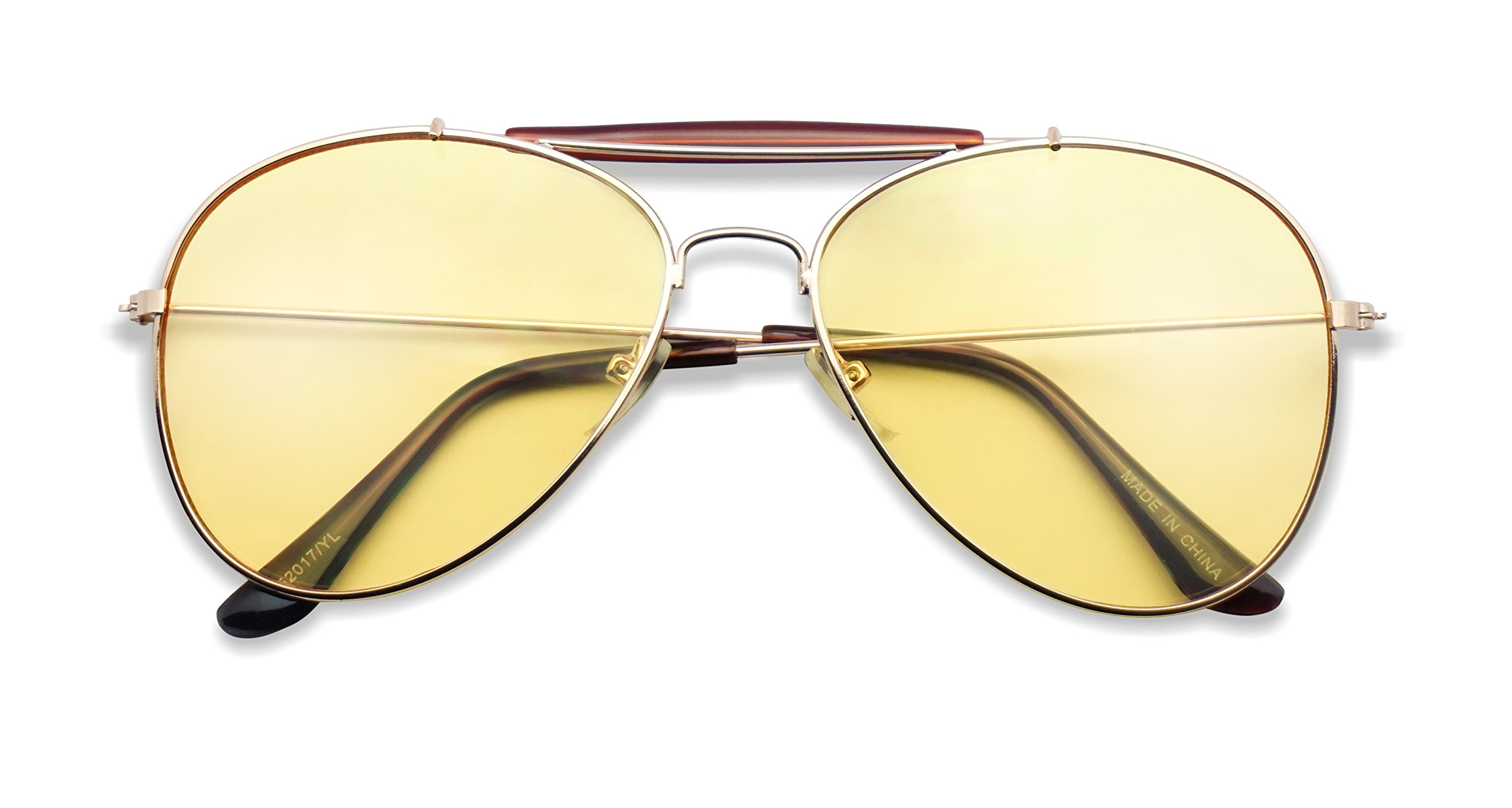 Colorful Gold Metal Classic Black Plastic Aviator Sunglasses 60mm 65mm Aviators w/ Color Lenses (Gold | Yellow (Crossbar), 60) by SunglassUP