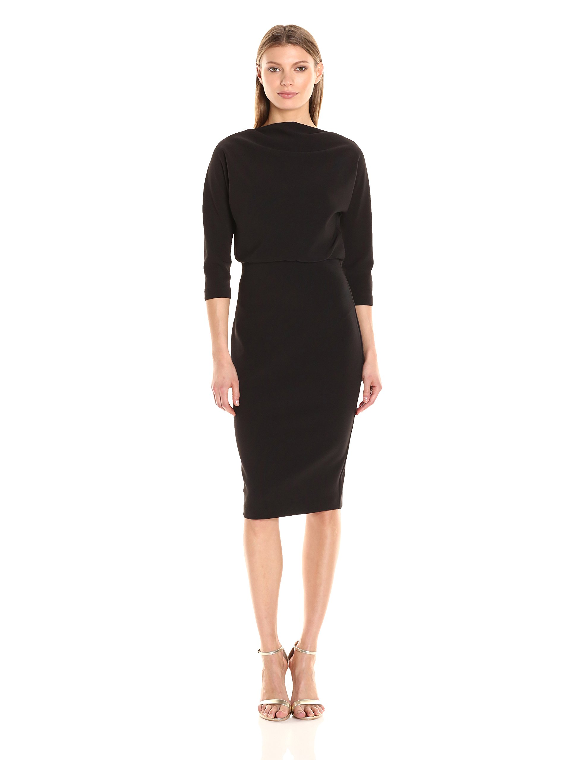 Badgley Mischka Women's 3/4 Sleeve Blouson Dress, Black, M