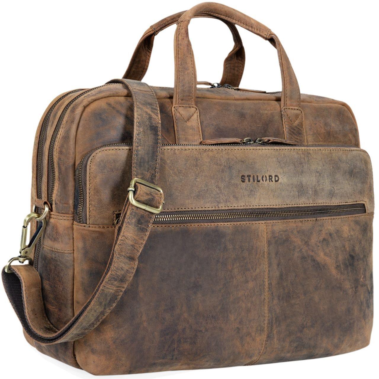 STILORD 'William' Businesstasche Leder groß XL Lehrertasche Aktentasche 15,6 Zoll Laptoptasche Bürotasche Ledertasche Vintage Umhängetasche Echtleder, Farbe:dunkel - braun