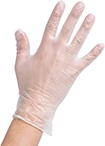 Noble Disposable Gloves Clear Large Powder-Free Disposable Vinyl Gloves for Foodservice Large Size Pack of 100