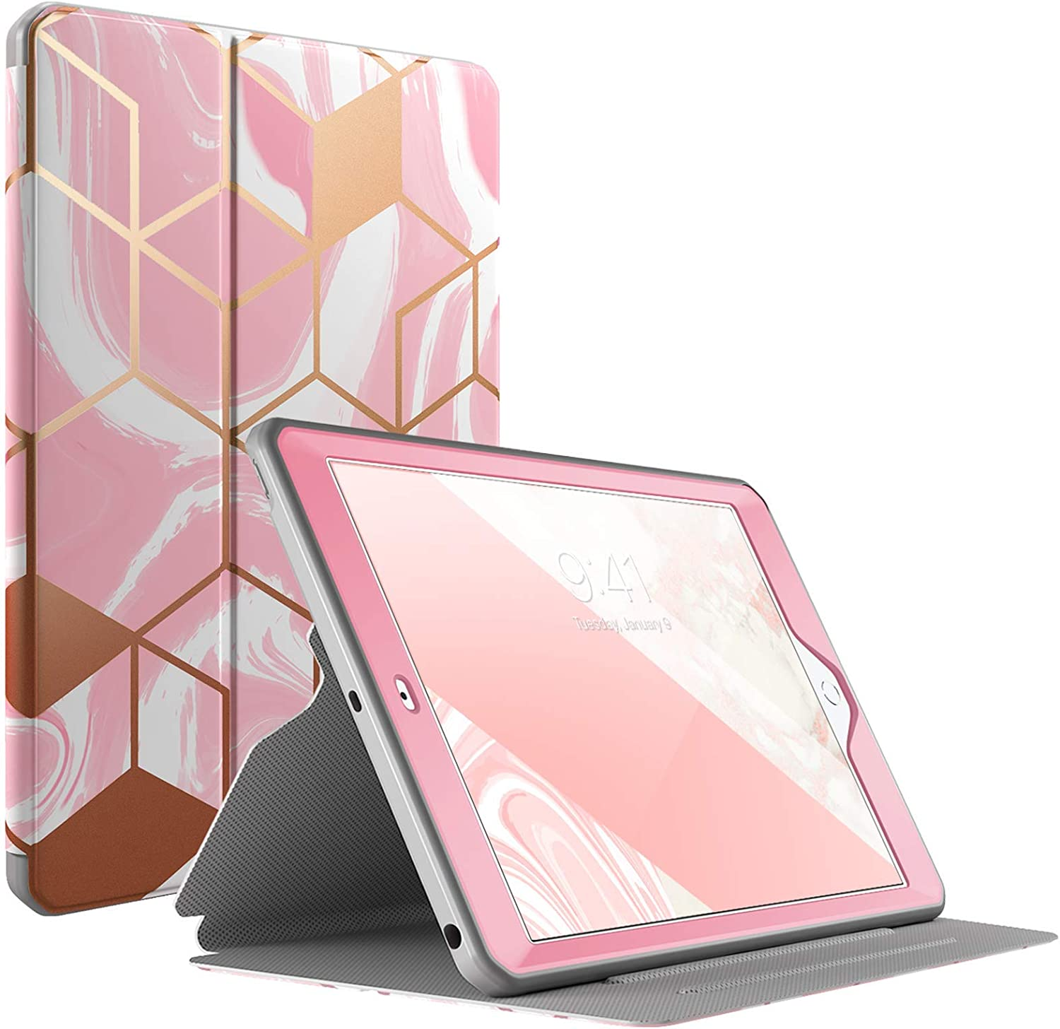 Popshine Marble Series Case for iPad 10.2 7th Generation 2019 / 8th Generation 2020 Case, Full Body Premium Stylish 360 Degree Protective Folio Cover with Built-in Screen Protector, Liquid Marble Pink