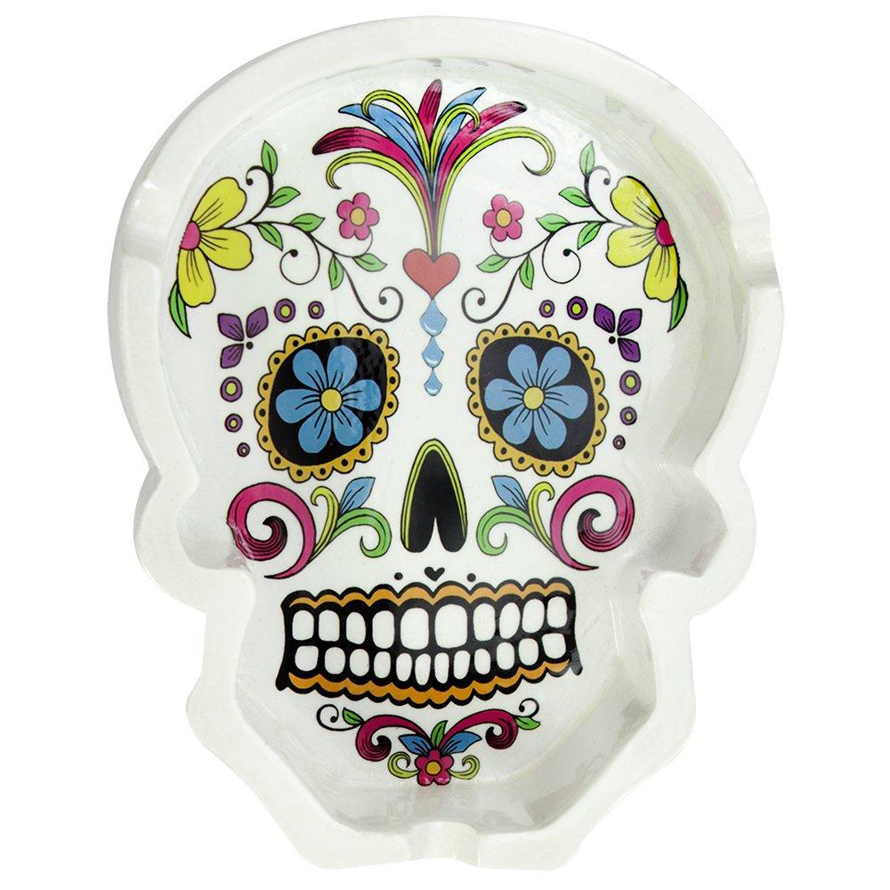 COM-FOUR/® Posacenere Skull con Tre portasigarette 5 cm Bianco Teschio Bianco - 01 Pezzi 11,5 x 8