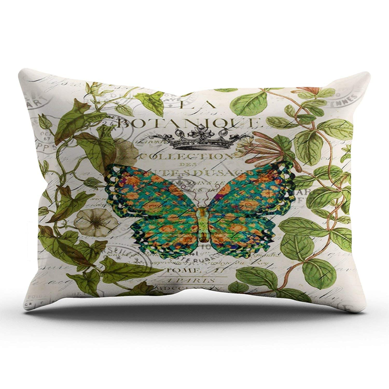 ONGING Decorative Pillowcases Green Bohemian Scripts French Botanical Butterfly Customizable Cushion Rectangle Lumbar Size 12x24 inches Throw Pillow Cover Case Hidden Zipper One Sided Design Printed