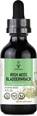 HERBAMAMA Irish Moss & Bladderwrack Liquid Extract 2 fl oz - Seaweed Dietary Supplement Drops for Immunity, Thyroid, Digestive & Joint Support - Non-GMO Nutritional Sea Moss Superfood Tincture