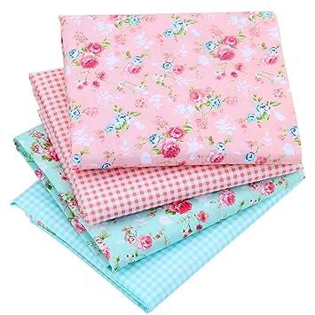 Floral algodón tela PATCHWORK telas serie azul floral ...