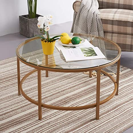 Paldin Vintage Coffee Table Gold Finish Frame Round Glass Top Side Table Living Room 90cm