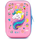 Cute Unicorn Embossed Hardtop Pencil Case - Kids Large Colored Pen Holder Box with Compartments - Girls Cosmetic Pouch Bag Stationery Organizer Crown Unicorn Light Pink