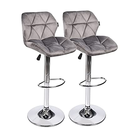 Superb Puluomis Bar Stools Modern Hydraulic Adjustable Swivel Barstools Flannel Padded With Back Dinning Chair With Chrome Base Set Of 2 Grey Flannel Ncnpc Chair Design For Home Ncnpcorg