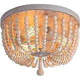 Q&S Wood Beaded Chandelier,Boho Farmhouse Light Fixture,Oak White,3 Lights,Semi Flush Mount Ceiling Light Fixtures for Hallwa
