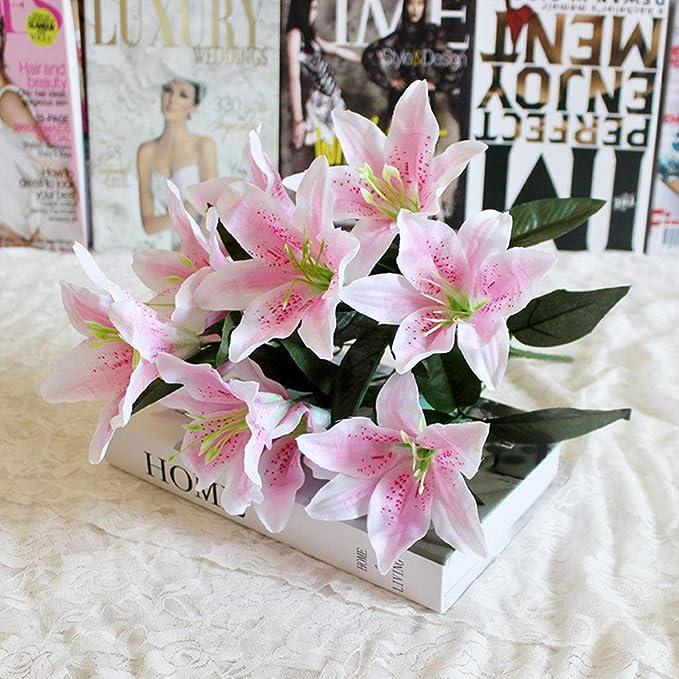 Künstliche Lilien 10 Blüten Künstliche Latex Echte Berührung Blumen Fake Lily Ostern Für Zuhause Hochzeit Partys Büros Restaurants Rose Free Size Amazon De