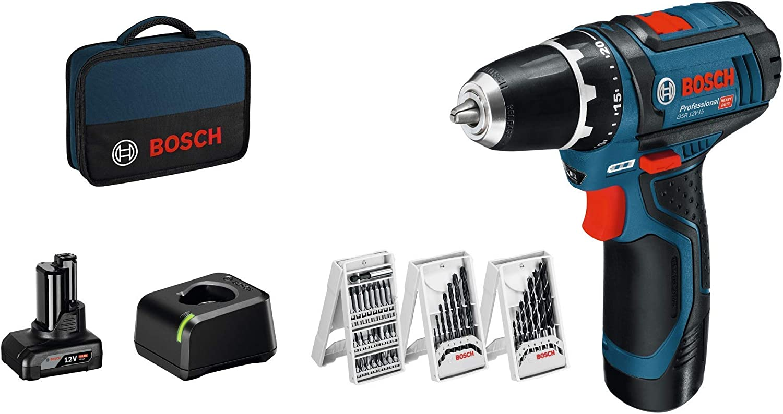 Bosch Professional GSR 12V-15 - Atornillador a batería (1 batería x 2.0 Ah, 1 batería x 4.0 Ah, 12V, 39 accesorios, en maletín de lona)