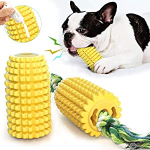 Tough Dog Toothbrush Chew Toys for Aggressive Chewers , Durable Corn Dog Rope Toy, Puppy Teething Indestructible Toys with Food Grade Rubber for Small Medium Dogs